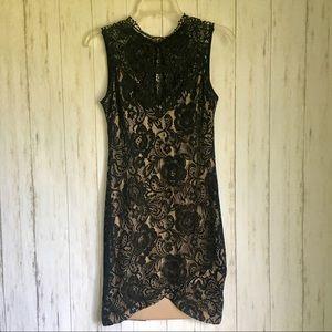 Black Crochet Lace Body Con DRESS M NWT